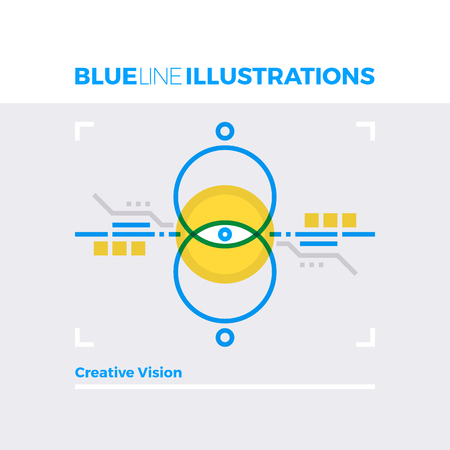multiply: Blue line illustration concept of creative vision, design methods and creative experience. Premium quality flat line image. Detailed line icon graphic elements with overlay and multiply color forms.