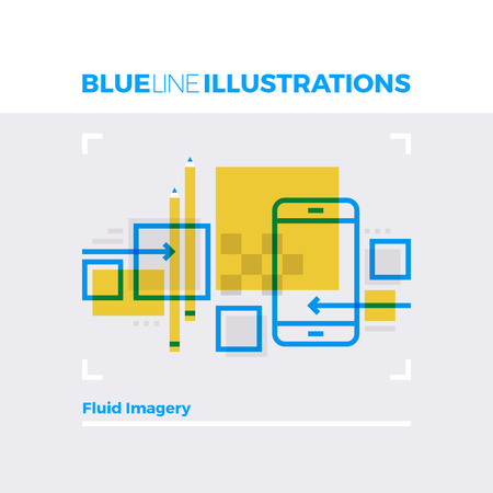 contemporary: Blue line illustration concept of fluid imagery interface design and usability development process. Premium quality flat line image. Detailed line icon graphic elements with overlay and multiply color forms.