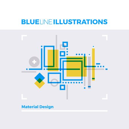 Blue line illustration concept of material design, abstract shapes and geometry forms. Premium quality flat line image. Detailed line icon graphic elements with overlay and multiply color forms. Illustration
