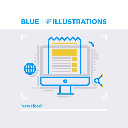 sign: Blue line illustration concept of online newsfeed, sharing information and digital media. Premium quality flat line image. Detailed line icon graphic elements with overlay and multiply color forms.