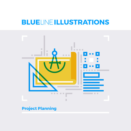 concept: Blue line illustration concept of project planning items and technical document. Premium quality flat line image. Detailed line icon graphic elements with overlay and multiply color forms.