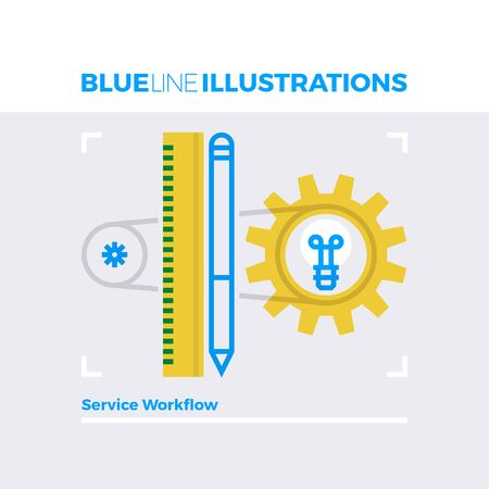 symbol: Blue line illustration concept of service workflow, customization process and mechanisms. Premium quality flat line image. Detailed line icon graphic elements with overlay and multiply color forms. Illustration