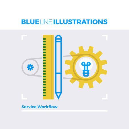 multiplicar: ilustración línea azul concepto de flujo de trabajo de servicio, proceso de personalización y mecanismos. imagen línea plana de primera calidad. línea de icono detallado con elementos gráficos de superposición y se multiplican las formas de color.