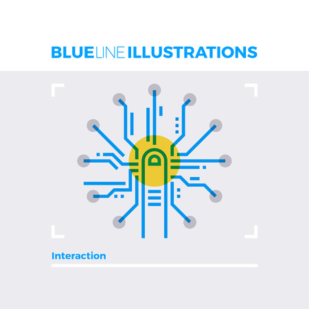 screen: Blue line illustration concept of interaction design, fingerprint scanning and access. Premium quality flat line image. Detailed line icon graphic elements with overlay and multiply color forms.