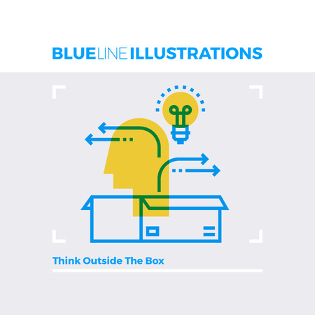 sign: Blue line illustration concept of creative minded person and thinking outside the box. Premium quality flat line image. Detailed line icon graphic elements with overlay and multiply color forms.