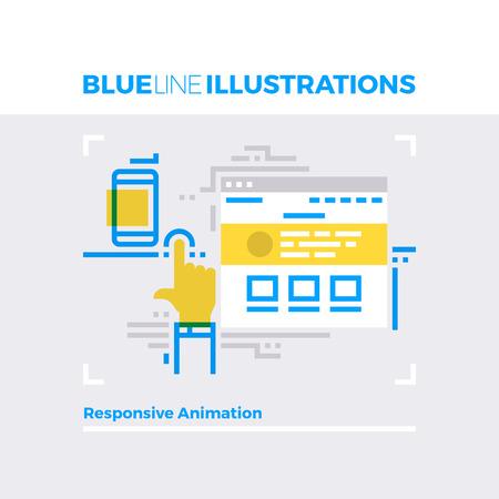Blauwe lijn illustratie concept van de responsieve animatie, web reclame en website interactie. image premium kwaliteit vlakke lijn. Gedetailleerde lijn icoon grafische elementen met overlay en vermenigvuldig kleur vormen.