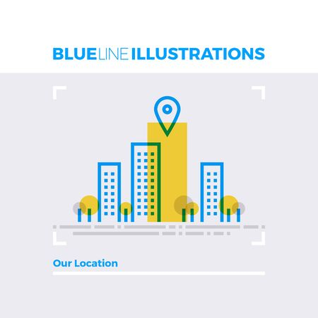 Blue line illustration concept of cityscape view, company location pointer, business center. Premium quality flat line image. Detailed line icon graphic elements with overlay and multiply color forms. Illustration