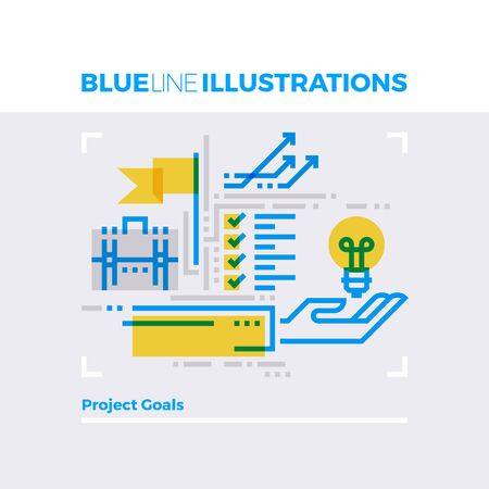 Blue line illustration concept of business project goals, complex method planning campaign. Premium quality flat line image. Detailed line icon graphic elements with overlay and multiply color forms. Illustration