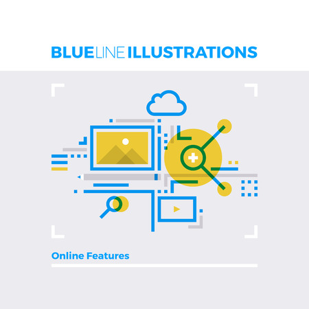 Blue line illustration concept of online features, multimedia files and content management. Premium quality flat line image. Detailed line icon graphic elements with overlay and multiply color forms.