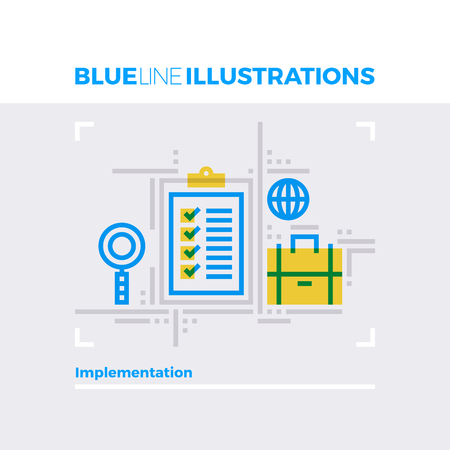 intent: Blue line illustration concept of project implementation and management approach. Premium quality flat line image. Detailed line icon graphic elements with overlay and multiply color forms. Illustration
