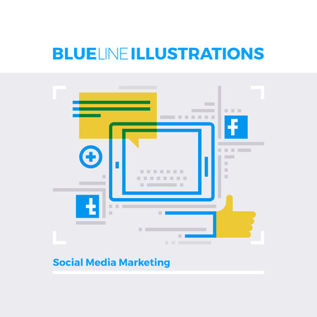 concept: Blue line illustration concept of social media marketing, networking and blogging. Premium quality flat line image. Detailed line icon graphic elements with overlay and multiply color forms.