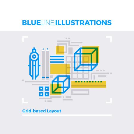 forme: concept illustration ligne bleue du système de présentation de la grille, la modélisation volumétrique et calculs. image ligne plat de qualité supérieure. icon ligne détaillée des éléments graphiques avec superposition et multiplient les formes de couleur. Illustration