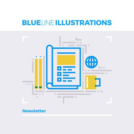 open magazine: Blue line illustration concept of morning newsletter, editing article and copywriting. Premium quality flat line image. Detailed line icon graphic elements with overlay and multiply color forms.