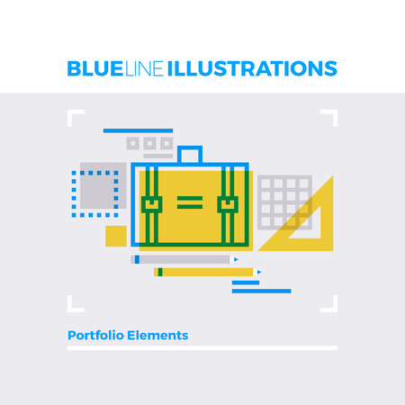 school: Blue line illustration concept of business case, workflow process, measure calculation tools. Premium quality flat line image. Detailed line icon graphic elements with overlay and multiply color forms. Illustration