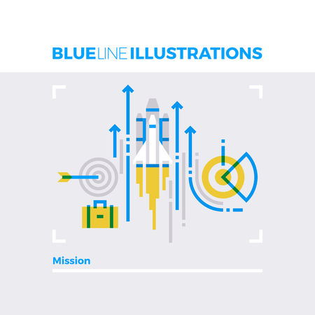 Blue line illustration concept of company mission, starting new business with goals. Premium quality flat line image. Detailed line icon graphic elements with overlay and multiply color forms.
