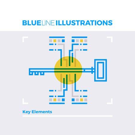 multiplicar: línea azul ilustración concepto de elementos clave, identificación de seguridad y acceso digital. imagen línea plana de primera calidad. línea de icono detallado con elementos gráficos de superposición y se multiplican las formas de color.