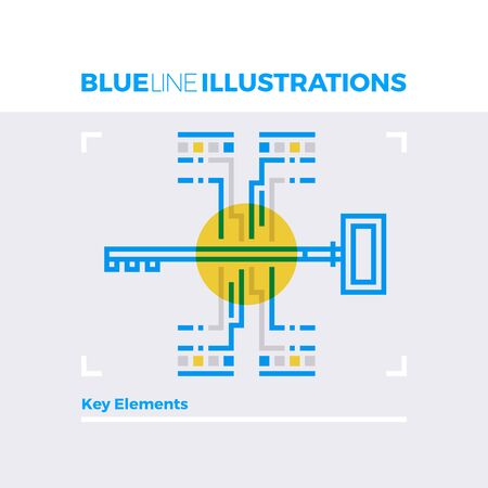 Blue line illustration concept of key elements, security identification and digital access. Premium quality flat line image. Detailed line icon graphic elements with overlay and multiply color forms. Illustration