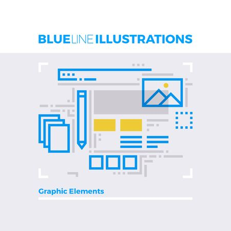 line drawings: Blue line illustration concept of graphic elements, design instruments and shapes. Premium quality flat line image. Detailed line icon graphic elements with overlay and multiply color forms.