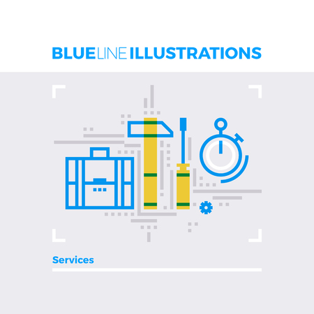 people icon: Blue line illustration concept of repair services, business support and maintenance project. Premium quality flat line image. Detailed line icon graphic elements with overlay and multiply color forms.
