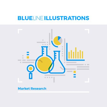 marketing research: Blue line illustration concept of marketing infographics and science laboratory research. Premium quality flat line image. Detailed line icon graphic elements with overlay and multiply color forms.