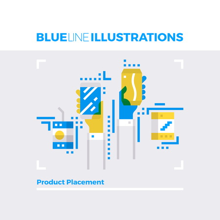 contemporary: Blue line illustration concept of product placement method, branding and identity. Premium quality flat line image. Detailed line icon graphic elements with overlay and multiply color forms.