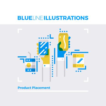 multiplicar: Ejemplo del concepto de la línea azul del método de colocación del producto, la marca y la identidad. imagen línea plana de primera calidad. línea de icono detallado con elementos gráficos de superposición y se multiplican las formas de color. Vectores