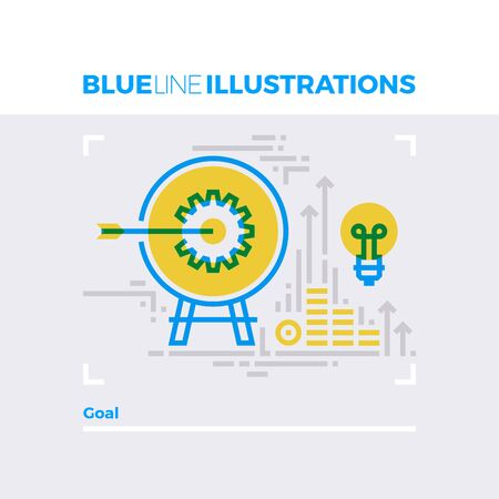 Blue line illustration concept of business and personal goals reaching, target archery. Premium quality flat line image. Detailed line icon graphic elements with overlay and multiply color forms.
