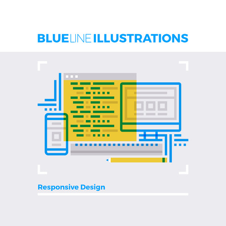view: Blue line illustration concept of responsive web design, multiplatform app development. Premium quality flat line image. Detailed line icon graphic elements with overlay and multiply color forms.