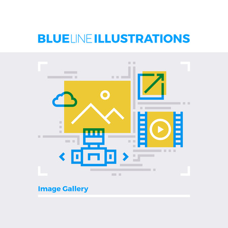 multimedia icon: Blue line illustration concept of image gallery and web multimedia content folder. Premium quality flat line image. Detailed line icon graphic elements with overlay and multiply color forms.