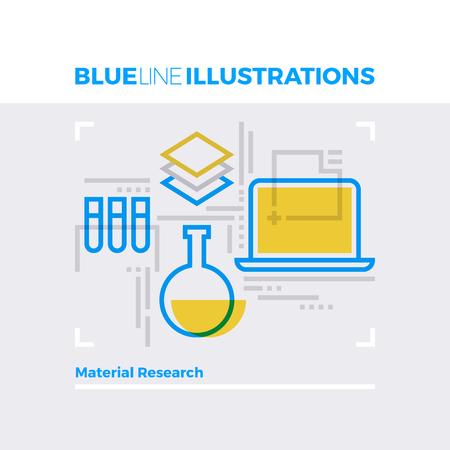 multiplicar: Ejemplo del concepto de la línea azul de la investigación de materiales, experimento de química, análisis por ordenador. imagen línea plana de primera calidad. línea de icono detallado con elementos gráficos de superposición y se multiplican las formas de color.