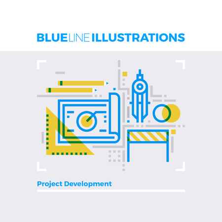 project: Blue line illustration concept of project development and engineering instruments. Premium quality flat line image. Detailed line icon graphic elements with overlay and multiply color forms.