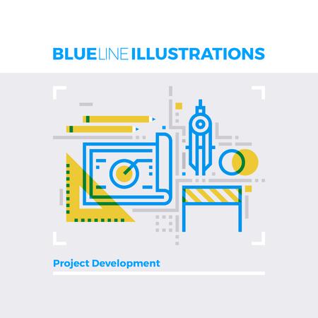 multiplicar: ilustración línea azul concepto de desarrollo de proyectos de ingeniería y de instrumentos. imagen línea plana de primera calidad. línea de icono detallado con elementos gráficos de superposición y se multiplican las formas de color.