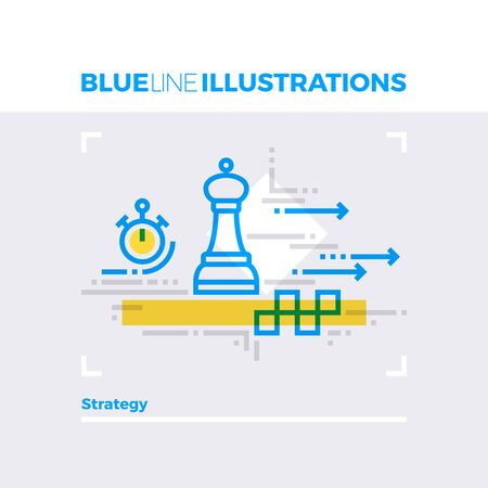 arrow icon: Blue line illustration concept of strategy planning and prediction tactics method to action. Premium quality flat line image. Detailed line icon graphic elements with overlay and multiply color forms.