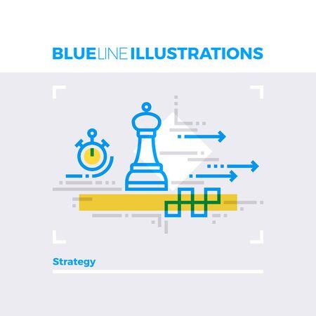 Niebieska linia ilustracji koncepcji planowania strategii i metody taktyki przewidywania do działania. Wysokiej jakości obraz płaski. Szczegółowe elementy grafiki ikon liniowych z nakładkami i mnożeniem kolorowych formularzy. Ilustracje wektorowe