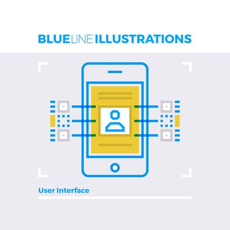 smartphone: Blue line illustration concept of user interface development and profile menu information. Premium quality flat line image. Detailed line icon graphic elements with overlay and multiply color forms.