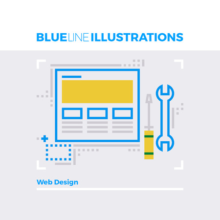 symbol: Blue line illustration concept of web design tools, website support and configuration. Premium quality flat line image. Detailed line icon graphic elements with overlay and multiply color forms.