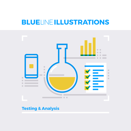info: Blue line illustration concept testing and analysis information, mobile development. Premium quality flat line image. Detailed line icon graphic elements with overlay and multiply color forms.
