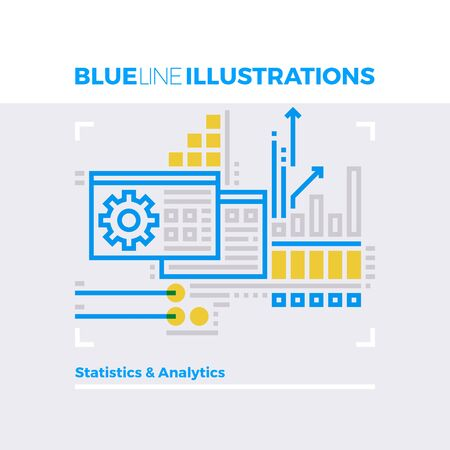 insight: Blue line illustration concept of statistical information, data analytics and growth chart. Premium quality flat line image. Detailed line icon graphic elements with overlay and multiply color forms.