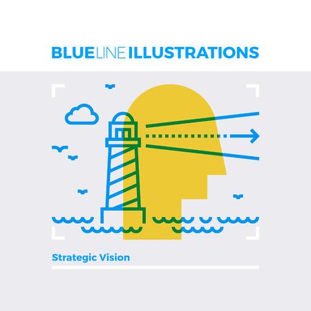 戦略的なビジョン、灯台と海の景観の青い線図概念。プレミアム品質のフラット ライン イメージ。行アイコン オーバーレイ乗算カラー フォームと
