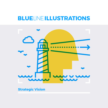 Blue line illustration concept of strategic vision, lighthouse and sea landscape. Premium quality flat line image. Detailed line icon graphic elements with overlay and multiply color forms.