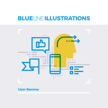rating: Blue line illustration concept of user review, customer connection and networking. Premium quality flat line image. Detailed line icon graphic elements with overlay and multiply color forms.