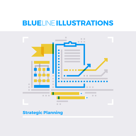 concept: Blue line illustration concept of strategic management, planning and scheduling. Premium quality flat line image. Detailed line icon graphic elements with overlay and multiply color forms. Illustration