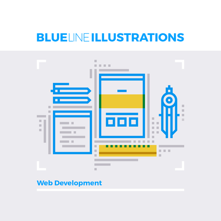 website: Blue line illustration concept of website development, web engineering and interface design. Premium quality flat line image. Detailed line icon graphic elements with overlay and multiply color forms.