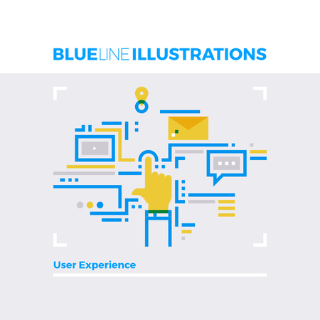 communication icons: Blue line illustration concept of user experience development and usability expectation. Premium quality flat line image. Detailed line icon graphic elements with overlay and multiply color forms.