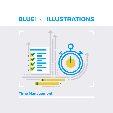 business: Blue line illustration concept of time management process, deadline and execution term. Premium quality flat line image. Detailed line icon graphic elements with overlay and multiply color forms.