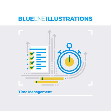 Ejemplo del concepto de la línea azul del proceso de gestión del tiempo, fecha límite y plazo de ejecución. imagen línea plana de primera calidad. línea de icono detallado con elementos gráficos de superposición y se multiplican las formas de color. Ilustración de vector