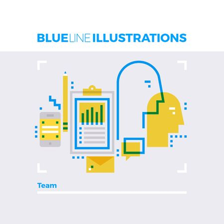 work: Blue line illustration concept of team, working group and personal partnership. Premium quality flat line image. Detailed line icon graphic elements with overlay and multiply color forms.