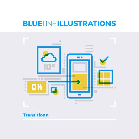 mobile apps: Blue line illustration concept of transitions elements and mobile platform widgets. Premium quality flat line image. Detailed line icon graphic elements with overlay and multiply color forms. Illustration
