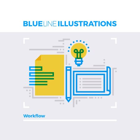 working office: Blue line illustration concept of office workflow, business documentation and papers. Premium quality flat line image. Detailed line icon graphic elements with overlay and multiply color forms.