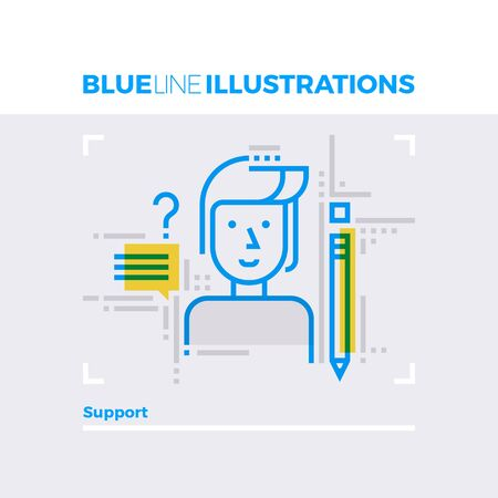occupation: Blue line illustration concept of support, client service and answer customer questions. Premium quality flat line image. Detailed line icon graphic elements with overlay and multiply color forms. Illustration